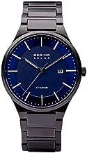 BERING Men's Quartz Watch with Titanium Strap, Black, 21 (Model: 15239-727)