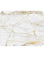 Podkładka pod mysz o wyglądzie marmuru I 24 x 19 cm I podkładka pod mysz w kolorze złotym, biało-szarym I standardowy rozmiar, antypoślizgowa I prosta nowoczesna I wygląd kamienia granit I dv_638