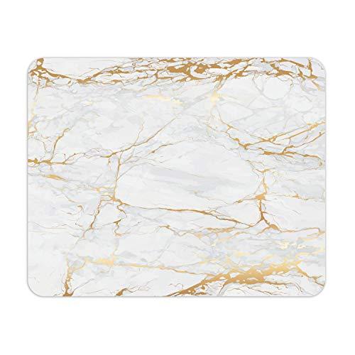 Mauspad Marmor-Optik I 24 x 19 cm I Mousepad in Gold weiß grau I Standard-Größe, rutschfest I schlicht modern I Stein-Optik Granit I dv_638