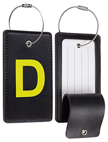 Travelambo Initial Luggage Tag Baggage Bag Tags Travel Fully Bendable Tag Stainless Steel Loop 2 pcs Set (D)