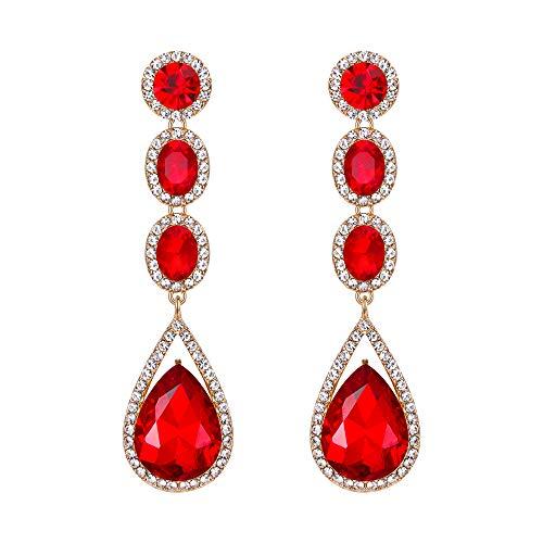 EVER FAITH Mujer Cristal Austríaco Boda Moda Lágrima Araña Largo Pendientes Colgante Rojo Tono Plateado