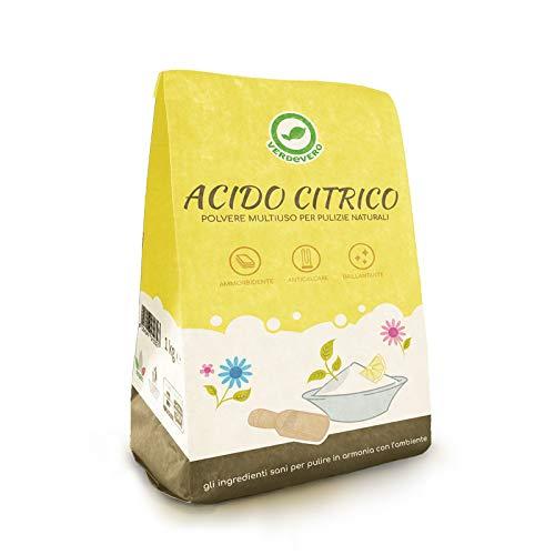 Verdevero Acido Citrico Anidro Puro 1Kg - In Polvere per pulizie
