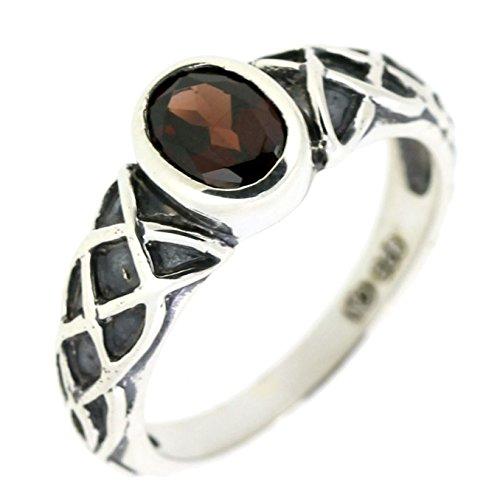 BL Jewelry Sterling Silver Oval Cut Genuine Garnet Celtic Knot Ring (1 CT.T.W)
