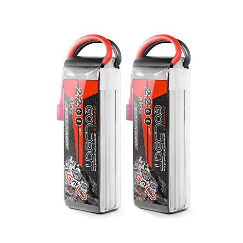 GOLDBAT RC Batterie 2200 mAh 11.1V 35C 3S Li-Polymer Ersatzakku Batterie Modellbau Akku mit Deans Stecker T Plug für RC Auto, Truck, Flugzeug, Heilikopter, Boot RC Hobby (2 Packs)