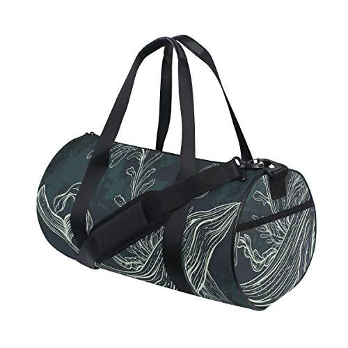 ZOMOY Sporttasche,Wal Doodle Korallenriff Algen Print,Neue Bedruckte Eimer Sporttasche Fitness Taschen Reisetasche Gepäck Leinwand Handtasche