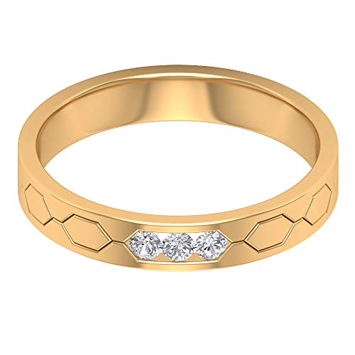 Moderner Ehering, HI-SI zertifizierter Diamant Trinity Ring, stapelbar Brautjungfer Ring, Einzigartiger Jahrestag Ring, Paar passender Ring, Statement Ring, 14K Gelbes Gold, Size:EU 70