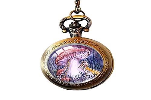 Reloj de bolsillo con diseño de hada vintage de seta de cristal para hombre y mujer