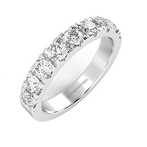 Certified 3 mm 0.75Ct Round Brilliant Diamond Half Eternity Ring in 6 grams Heavy Platinum Hallmarked Size S