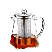 teiere in vetro con infusore rimovibile, wisolt bicchiere alto in vetro borosilicato bollitore da tè in forma quadrata, colino in acciaio inossidabile 304 e coperchio - piano cottura sicuro (950ml)