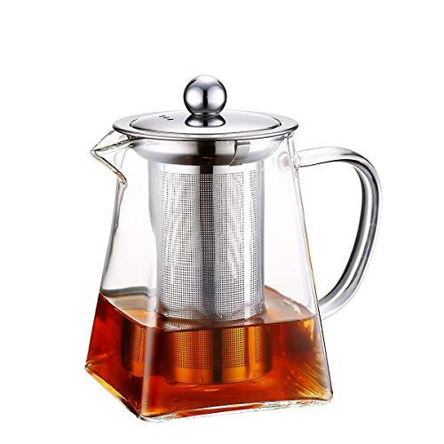 Teiere in vetro con infusore rimovibile, Wisolt Bicchiere alto in vetro borosilicato Bollitore da tè in forma quadrata, colino in acciaio inossidabile 304 e coperchio - Piano cottura sicuro (750ML)