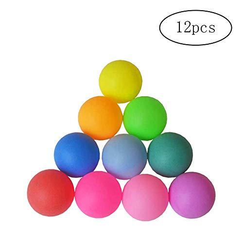 Fliyeong - Pelotas de ping pong estándar de 40 mm de plástico para pelotas de tenis de mesa, duraderas, coloridas, 12 unidades, elegantes y prácticas