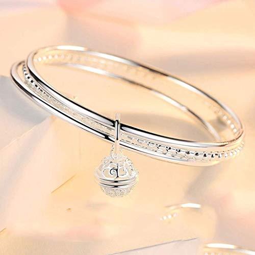 SMEJS Pulsera Pulsera de tres anillos Mujer Plata de ley Plata Moda Simple Nueva pulsera de plata para las mujeres del Día de San Valentín