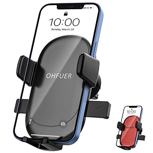 OHFUER Soporte Móvil Coche, Soporte Móvil Télefono para Rejilla del Aire Ventilación con 360° Rotación Universal Automático Ajustable por Gravedad para Smartphones de 4,7 a 6,7 Pulgadas