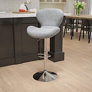 Bring a splash of vibrant color as well as some mid-century modern style to your space with this adjustable barstool. This fashionable stool is not only on-trend but is supremely comfortable making it easy for your guests to get comfortable Curved mi...