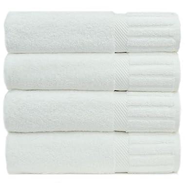 Luxury Hotel & Spa Towel Turkish Cotton Piano (WHITE, Bath Towel  - Set of 4)