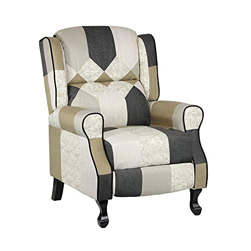 Totò Piccinni Poltrona Relax Reclinabile con Poggiapiedi Imbottita, Patchwork Elegant, Soft Comfort