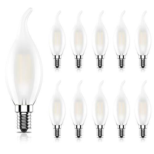 10er C35 4W Retro Nicht Dimmbar Glühfaden LED Kerze Lampe, 2700K Warmweiß 400 Lumen, Ersatz für 40W Glühlampen, E14 Fassung, Flamme Form, Milchglas, CRI>80,360° Abstrahlwinkel