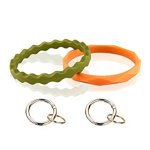 Pajaver 4 Stück Armband Schlüsselbund, Großer Kreis Silikon Armband Schlüsselring Diamant Muster Armreif Schlüsselhalter für Damen Mädchen, 4 Farbe