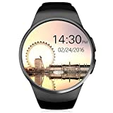 KingWear KW18 1.3 inch Round Dial Smartwatch Phone MTK2502 IPS Screen Pedometer Sedentary Reminder Bluetooth 4.0 Heart Rate Monitor Support SIM TF Card for Apple Samsung Phone (Black)