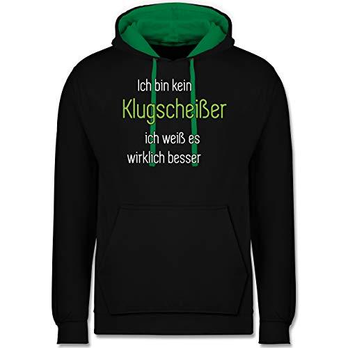 Shirtracer Sprüche - Ich Bin kein Klugscheißer ich weiß es wirklich Besser - M - Schwarz/Grün - frech - JH003 - Hoodie zweifarbig und Kapuzenpullover für Herren und Damen