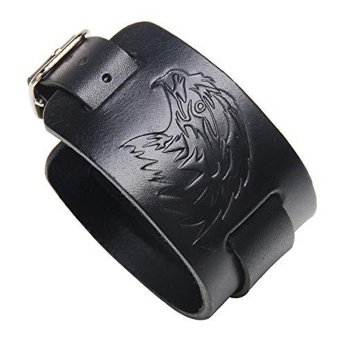 Thajaling Schwarzes Leder Armband Eule Kopf Armband Punk Style Wide Armreif Armreif Armband Armband für Männer und Frauen