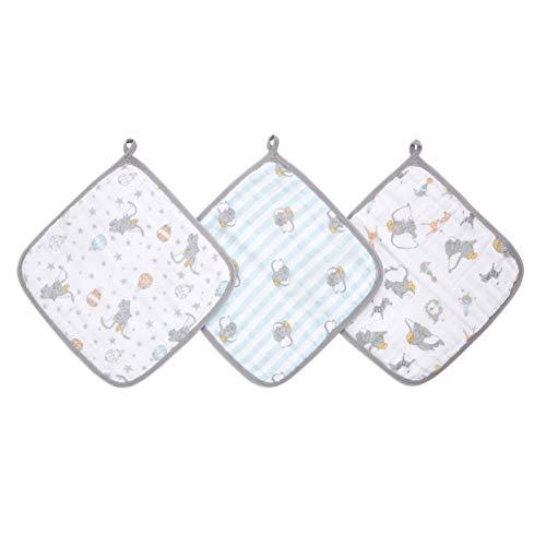 aden + anais essentials - Set de 3 débarbouillettes pour la toilette en mousseline 100% coton - Débarbouillette chic - Pratique - Douce - Garçon - Fille - Imprimé Dumbo New Heights - 30 cm x 30 cm