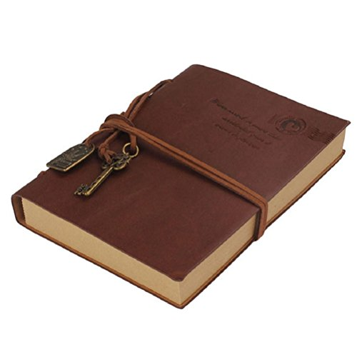 Nuolux Notebook Classic Retro Vintage Style PU Cover String Key Bound Blank Notepad Travel Journal Diary Sketchbook (Coffee)