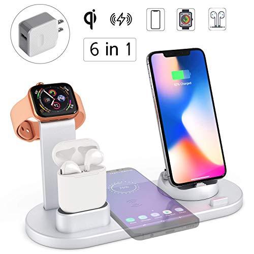 Soporte de Carga Inalámbrica, 6 en 1 Cargador inalámbrico para Apple Watch y Airpods, Estación de Carga Inalámbrica Compatible con iPhone 11/11Pro/11Max/X/XS/XR/XS MAX/8/8 Plus, AirPods 2/1/pro, Galaxy S10+ y Todos Los Teléfonos Qi, Carga Múltiples Dispositivos al Mismo Tiempo, Incluye un Adaptador(Negro) (Plata)