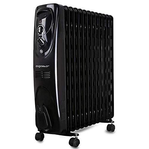 Aigostar Black Forest 33JIF – Radiador de aceite con ruedas y 13 elementos, 2500 Watios, dispone de 3 ajustes de potencia y...