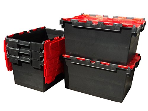 5 x Large Plastic 80 Litre Heavy Duty Storage Boxes (71 x 46 x 36.8cm) Plastor Black and Red LC3 Crates with Attached Hinged Lids