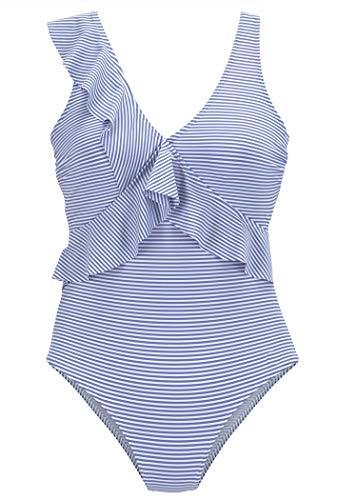 AOQUSSQOA Damen Badeanzüge Einteilege mit Rüschen V-Neck Bademode Monokinis Badeanzug Veränderbaren Stil Strand Schwimmen Kostüm (EU 38-40 (M), Blauer Streifen)