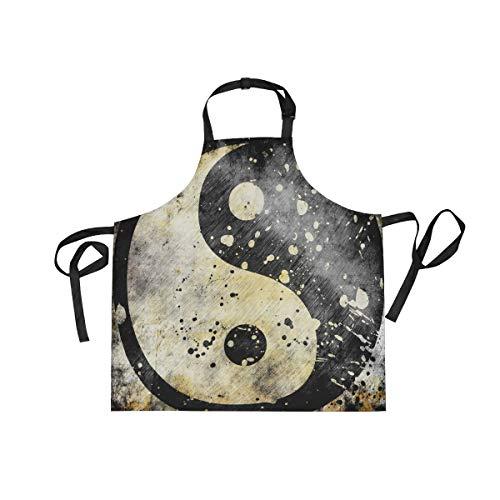 XiangHeFu Bib schorten met 2 Zakken Yin Yang Symbool Art Patroon 27,5 x 29 Inch Verstelbare Nek Band voor Mannen Vrouwen Koken Koken Chef Keuken