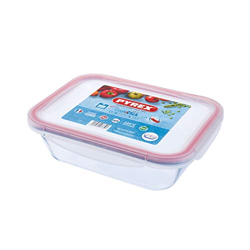 Pyrex Cook & Click - 1.7L Rectangular Food Storage Container with Clip Lock Plastic Lid