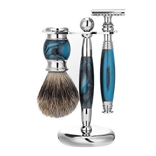 Set de rasoirs avec blaireau et support pour brosse, idée cadeau de luxe pour homme en poils de blaireau pointus argentés pour débutants (bleu)