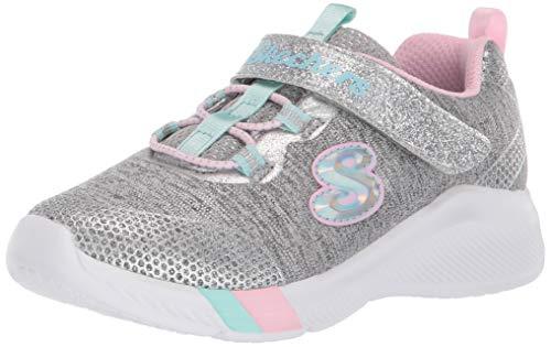 Skechers 302021 L/LTGY Dreamy Lites Kinder Mädchen Sneaker Turnschuhe grau/rosa/mintgrün, Größe:35, Farbe:Grau