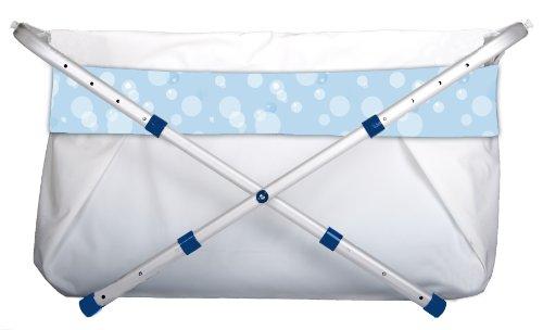 Faltbare Babybadewanne Bibabad - Rutschfeste, tragbare Badewanne für Dusche mit Rahmen - Geeignet für Kinder von 1 bis 8 Jahren - Babybadezubehör für Kleinkinder - Blau 60-80 cm