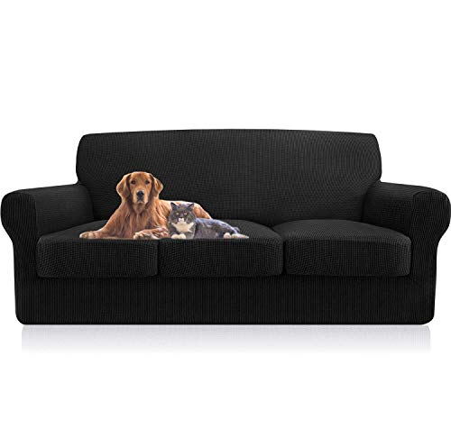 Sofa Slipcovers for 3 Seat Cushion Couch - Separate Sofa Seat Cushion Replacement – Stretchy, Durable, Waterproof Premium Quality Non-Slip Covers - Great Dogs Pets Furniture Protection (Large)