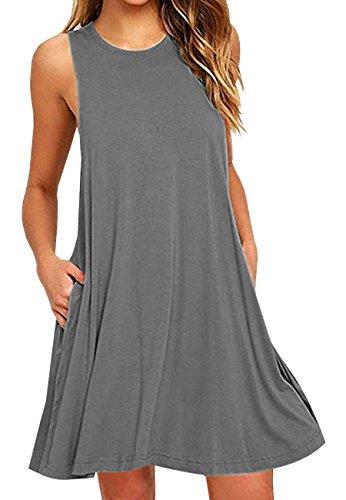 OMZIN Baumwolle Tunika Shirt Kleid für Damen Basic Solid Lose Top, XXL, Tasche-grau