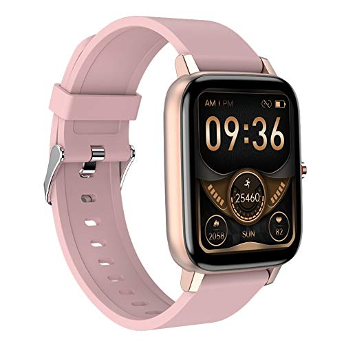 Smart Watch Fitness Tracker Pantalla de 1,69 Pulgadas Reloj de Pulsera Bluetooth Resistente al Agua con Monitor de frecuencia cardíaca/sueño Podómetro Notificación por SMS para iOS Android (Pink)