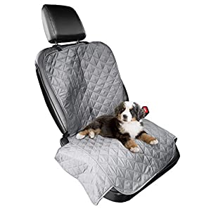 Furhaven Pet Furniture Cover – Universal Water-Resistant Quilted Car Bucket Seat Cover Protector for Dogs and Cats, Gray, Single-Seat