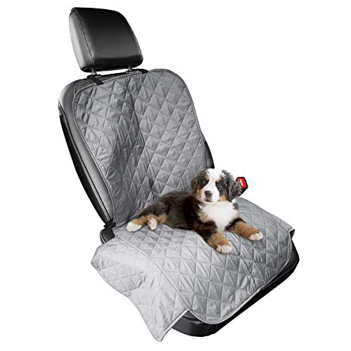 Furhaven Pet Furniture Cover - Universal Water-Resistant Quilted Car Bucket Seat Cover Protector for Dogs and Cats, Gray, Single-Seat