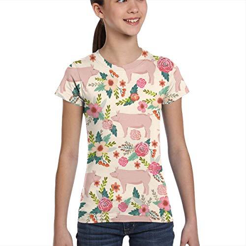 Camisetas para niñas 10-12, Cerdos y Tejidos Florales Animales de Corral Animales de Granja, XS