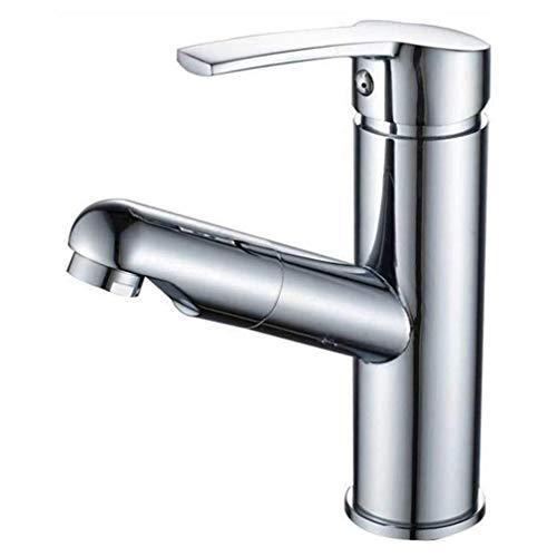 BBNBY Grifo de baño Extensible Cromado de una Sola Palanca con Mezclador de Ducha de Mano extraíble Grifo para Lavabo Grifos para Lavabo Grifos de Agua fría y Caliente, de latón