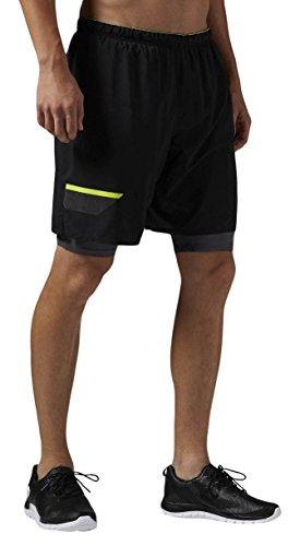 Reebok OSR 2-1 Short - Pantalón Corto para Hombre, Color Negro, Talla XL