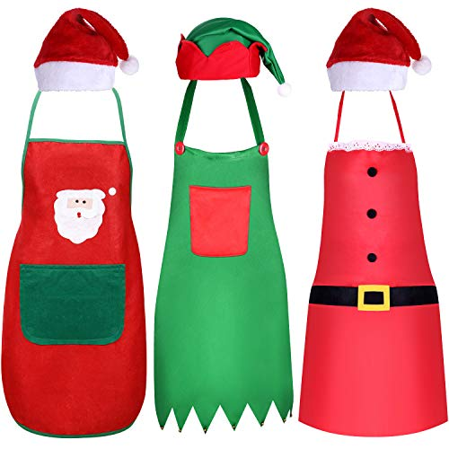 6 Pieces Christmas Apron and Hat Set, Including Christmas Elf Apron and Elf Hat, Santa Claus Apron and Red Christmas Santa Hat for Christmas Party Costume Supplies