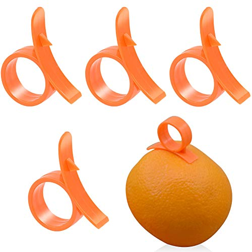 DGEMOC Orange Citrus Peelers, 4pcs Plastic Round (Citrus Fruit) Peelers Easy Slicer Cutter
