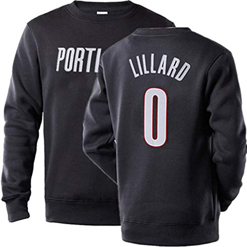 ATI-HSKJ Portland Trail Blazers # 0 Damian Lillard Basketball Sportswear Jersey Schwarz Basketball Fans Trainingsbekleidung Junge Kinder Langarm-Pullover Trikots,3XL:185/190cm