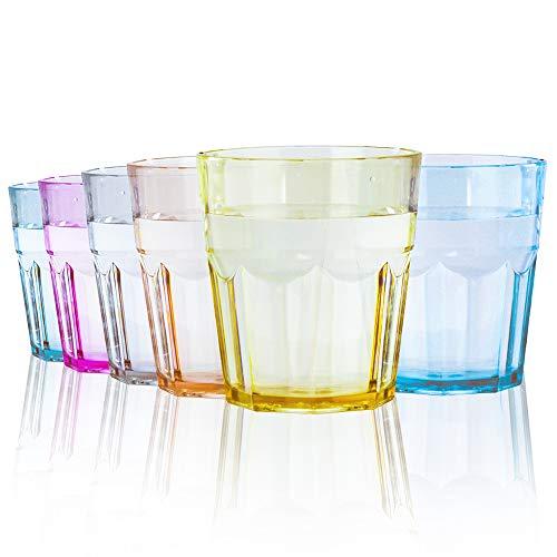 ECOZEN - 8 oz Unbreakable Premium Tritan Plastic Drinking Tumbler - Set of 6 - Glasses Water Cups- BPA Free (Multicolor)