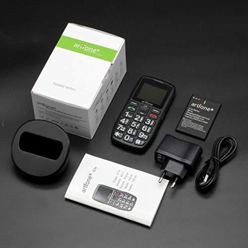 artfone C1+ Seniorenhandy ohne Vertrag | Dual SIM Handy mit Notruftaste | Rentner Handy große Tasten | 1400 mAh Akku Lange Standby-Zeit | Großtastenhandy mit Ladestation | 1,77 Zoll Farbdisplay - 7