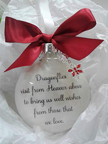 Memorial Christmas Ornament Dragonflies visit from Heaven with Dragonfly Red Crystal Charm